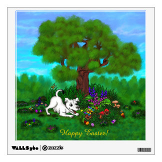 Easter - Puppy Capo and Butterfly Wall Decal