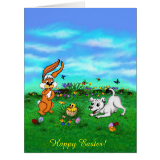 Easter - Puppy Capo Rabbit and Chick Card