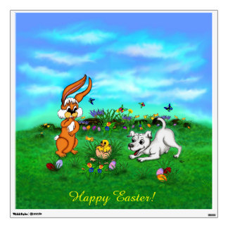 Easter - Puppy Capo Rabbit and Chick Wall Decal