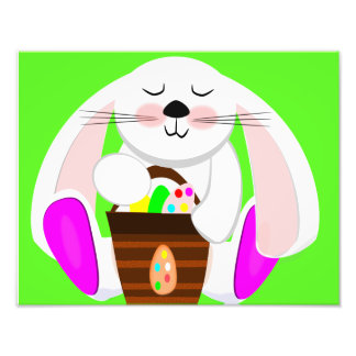 Easter Rabbit And A Basket of Eggs Photo Print
