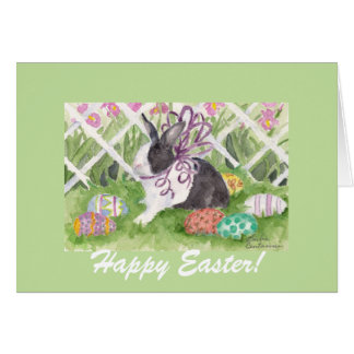 Easter Rabbit and Eggs Greeting Card