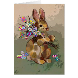 Easter rabbit greeting note card