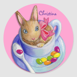 Easter Rabbit in Tea Cup Customizable Name Classic Round Sticker