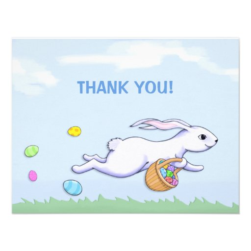easter rabbit run easter party thank you card