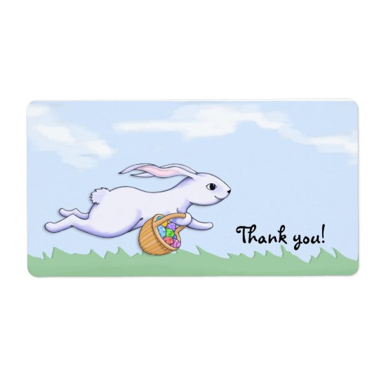 Easter Rabbit Run Thank You Party Favour Gift Tag Shipping Label