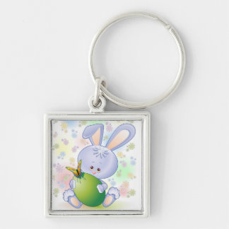 Easter Rabbit with Egg and Flowers Silver-Colored Square Keychain