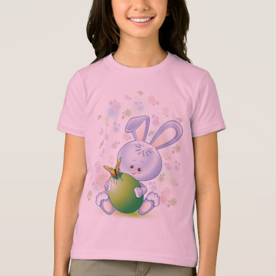 Easter Rabbit with Egg and Flowers T-Shirt