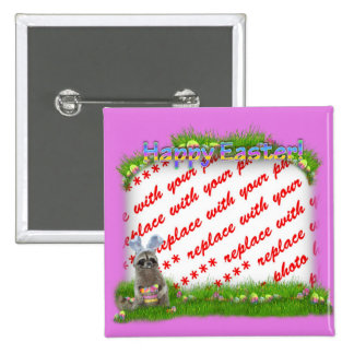 Easter Raccoon Bandit Photo Frame 2 Inch Square Button