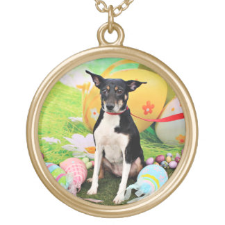 Easter - Rat Terrier - Georgia Gold Plated Necklace