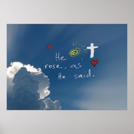 Easter Resurrection He Is Risen Jesus Rose Print