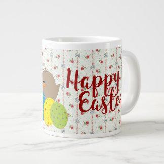 Easter Retro Floral Cartoon Chicks Cute Colorful Large Coffee Mug