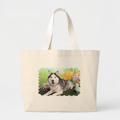 Easter - Siberian Husky - Luka Canvas Bags