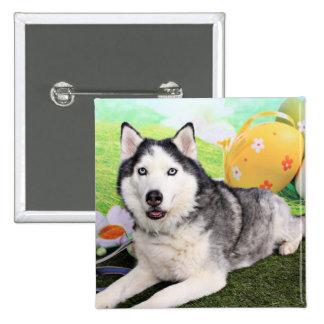 Easter - Siberian Husky - Luka Pinback Button