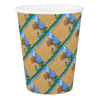 Easter Sign Bunny Eggs Background Paper Cup