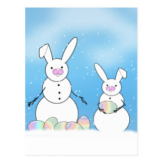 Easter Snowmen Snow Bunnies Postcard