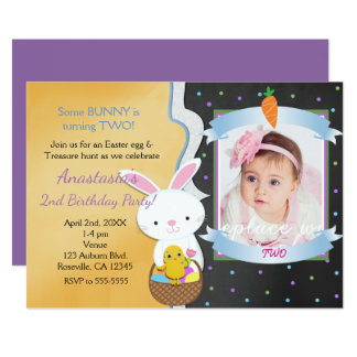 Easter Spring Birthday Party Photo Invitations