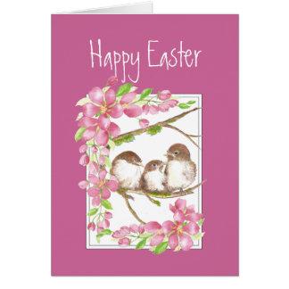 Easter, Spring , Cherry Blossom, Sparrows, Bird Card