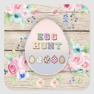 Easter Spring Flowers Egg Hunt Party Old Wood Square Sticker