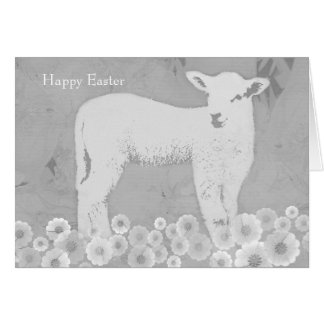 Easter spring lamb greeting card