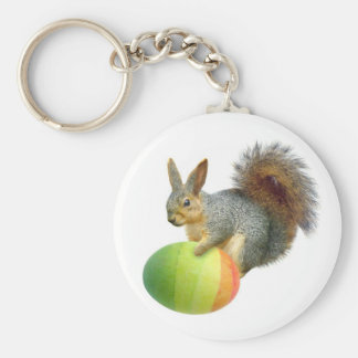 Easter Squirrel with  Rainbow Egg Keychain