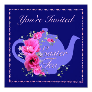 Easter Tea Invitations Teapot and Pink Flowers