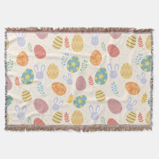 Easter throw blanket bunny eggs pattern