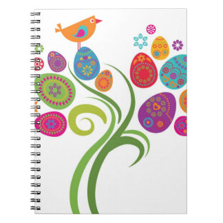 Easter tree with colored eggs and flowers spiral note book