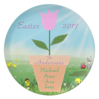 Easter Tulip Bunny Family Commemorative Plate Year