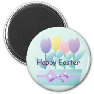 Easter Tulips Happy Easter Spring Magnet