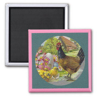 Easter Vintage Hen and Chicks Textured Square Magnet