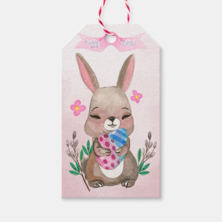 Easter - Watercolor Bunny & Eggs (1) Gift Tags