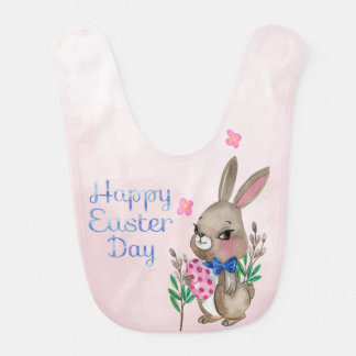 Easter - Watercolor Bunny & Eggs (2) Baby Bibs