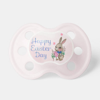 Easter - Watercolor Bunny & Eggs (2) Baby Pacifiers