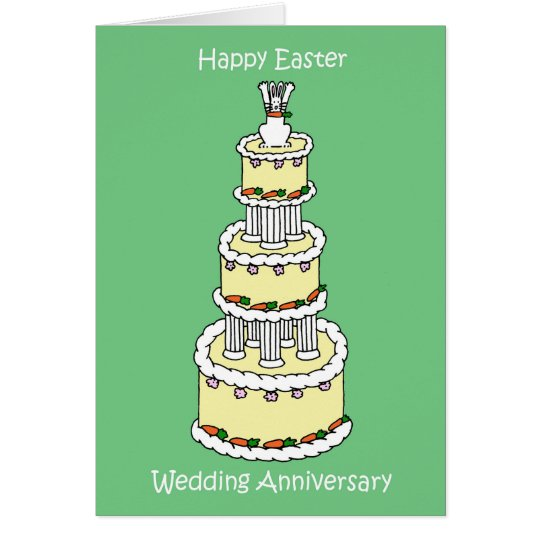 Easter Wedding Anniversary cute cake and bunny. Card