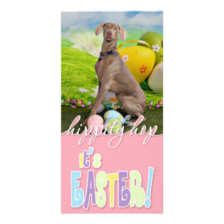 Easter - Weimaraner - Nevaeh Personalized Photo Card