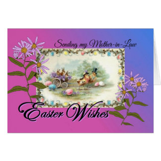 Easter Wishes for Mother-in-Law, Antique P'card Card