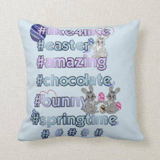 Easter with hashtags throw pillow