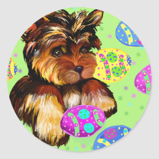 EASTER YORKIE POO CLASSIC ROUND STICKER
