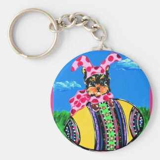 Easter Yorkie Poo Keychain