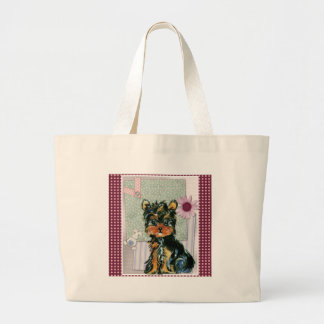 EASTER YORKIE POO LARGE TOTE BAG