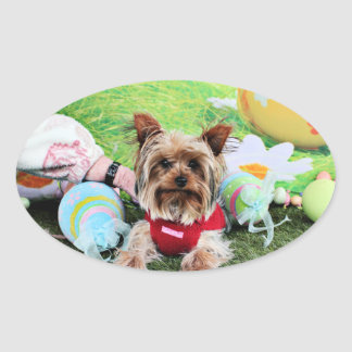 Easter - Yorkshire Terrier - Sassy Oval Sticker