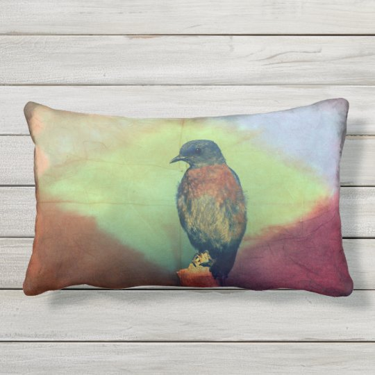 Eastern Bluebird-Colourful Diamond-Outdoor Pillow