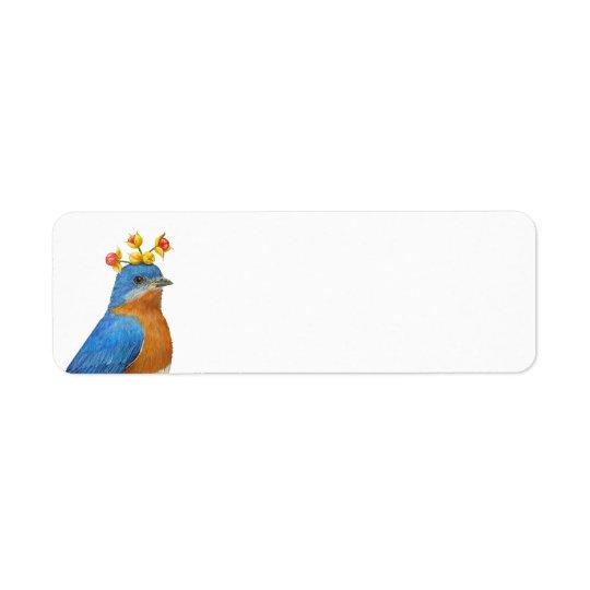 Eastern bluebird with bittersweet return address label
