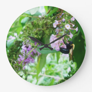 Eastern Carpenter Bee on Salvia flower Large Clock