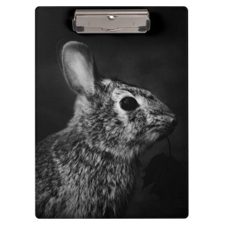 Eastern Cottontail Bunny Rabbit Black and White Clipboards