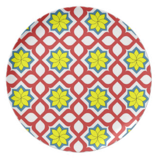 Eastern geometric floral design party plate