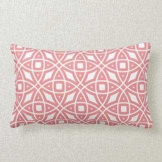 Eastern Geometric Pattern Coral Pink Lumbar Pillow