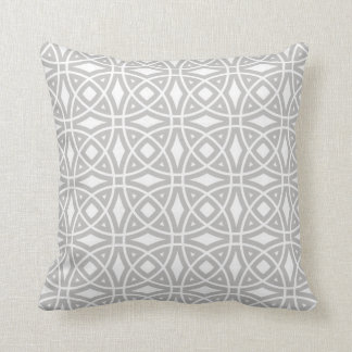 Eastern Geometric Pattern in Gray and White Throw Pillow