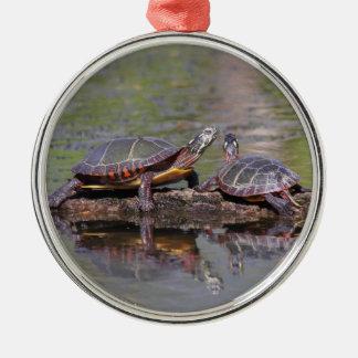 Eastern Painted Turtles Metal Ornament