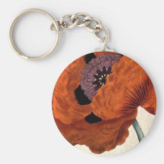 Eastern Poppy Basic Round Button Keychain